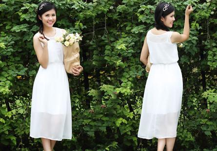 Đầm maxi phối ren White