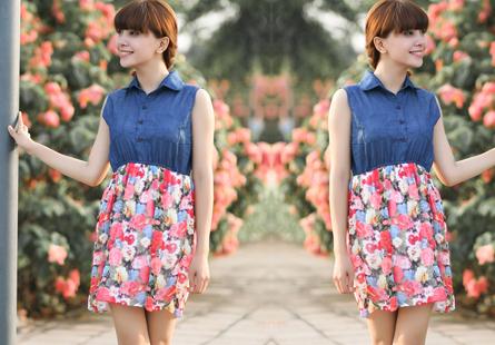 Đầm dạo phố denim phối chân váy họa tiết hoa