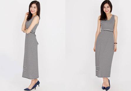Đầm maxi sọc thời trang